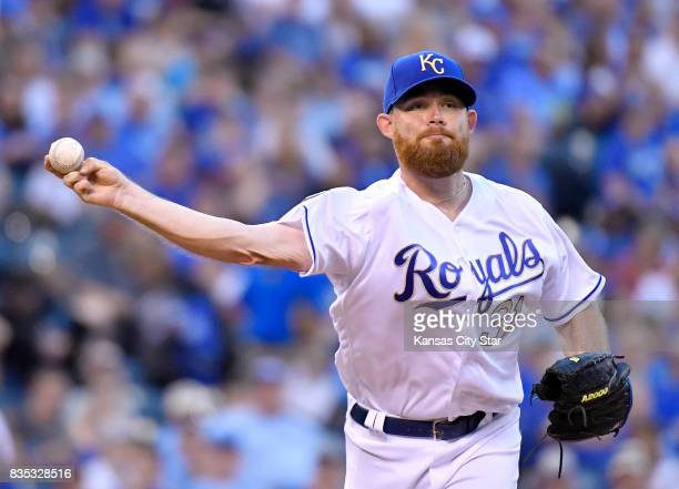 Kansas City Royals starting pitcher Ian Kennedy chases the Cleveland Indians' Bradley Zimmer back to first in the second inning at Kauffman Stadium...