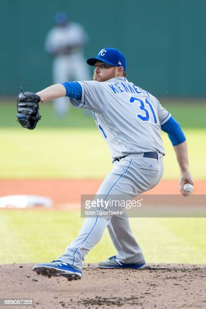 Kansas City Royals Starting pitcher Ian Kennedy looks in for a sign during the first inning of the Major League Baseball game between the Tampa Bay...