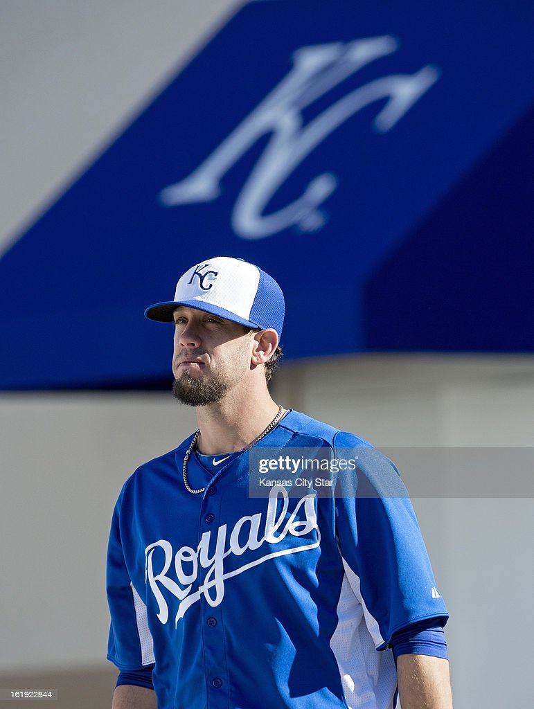 Kansas City Royals starting pitcher James Shields (33) walks toward the field beforea spring training workout in Surprise, Arizona, Sunday, February 17, 2013.