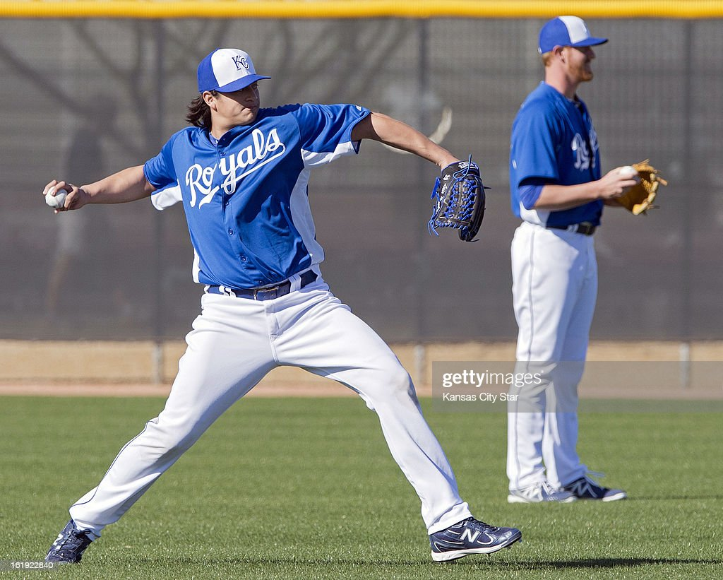 Kansas City Royals starting pitcher Luis Mendoza (39) warms up during a spring training workout in Surprise, Arizona, Sunday, February 17, 2013.