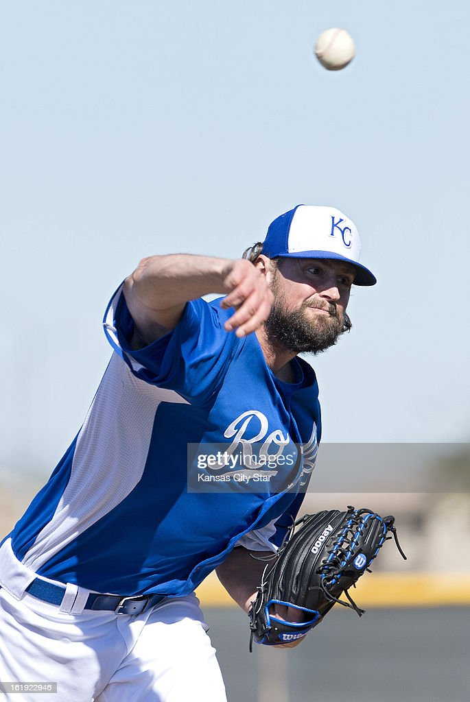 Kansas City Royals starting pitcher Luke Hochevar (44) throws from the mound during a spring training workout in Surprise, Arizona, Sunday, February 17, 2013.