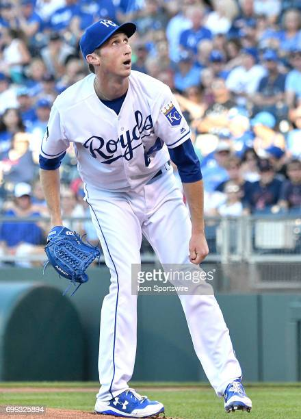 Kansas City Royals starting pitcher Matt Strahm reacts to a hit ball in the first inning during a MLB game between the Boston Red Sox and the Kansas...