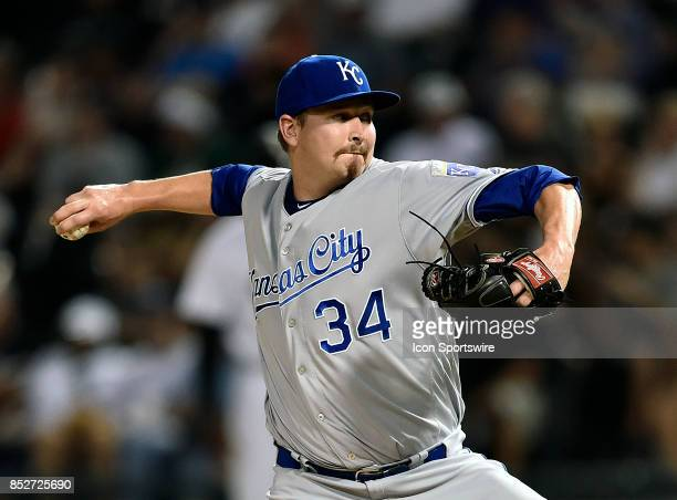Kansas City Royals starting pitcher Trevor Cahill pitches the ball during the game between the Kansas City Royals and the Chicago White Sox on...