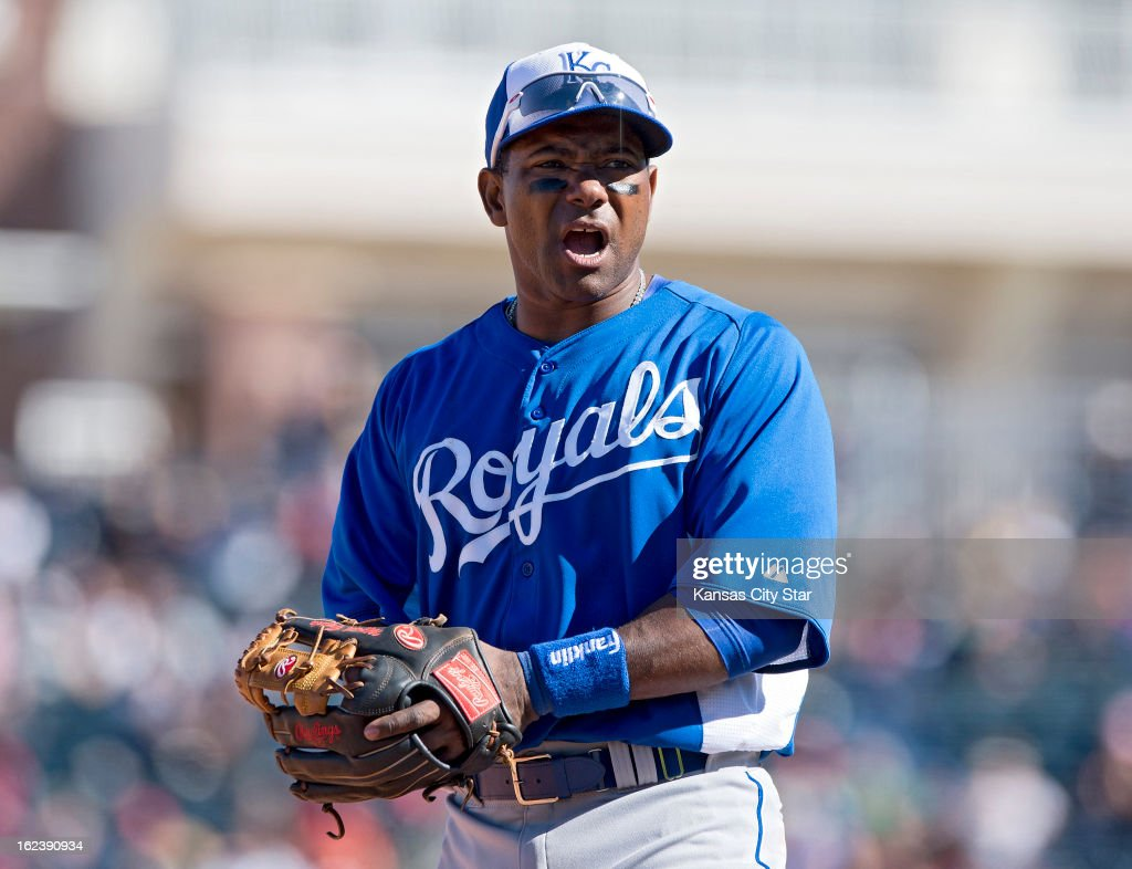 Kansas City Royals third baseman Miguel Tejada (24) appears during a spring training game against the Texas Rangers in Surprise, Arizona, Friday, February 22, 2013. The game ended in a 5-5 tie.