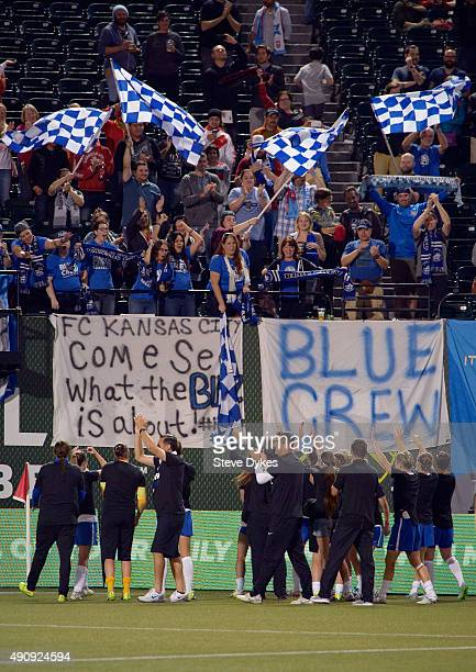 Kansas City team greet their fans in the stands as they celebrate after winning the NWSL Championship over the Seattle Reign FC by a score of 10 at...