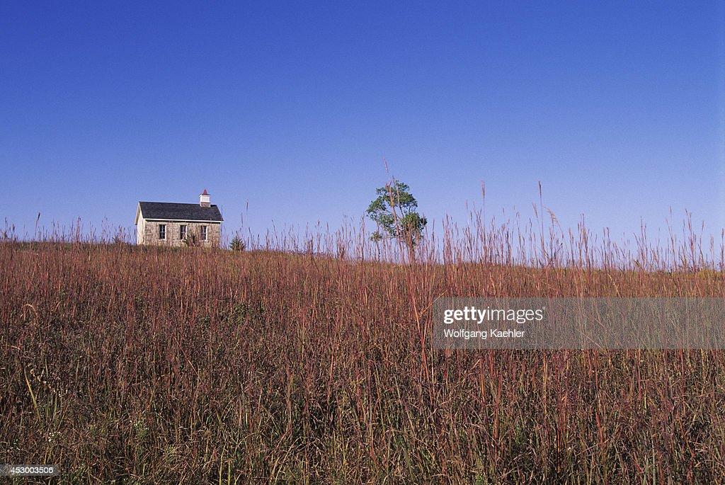 USA Kansas Flint Hills Near Strong City Tallgrass Prairie National Preserve One Room Schoolhouse