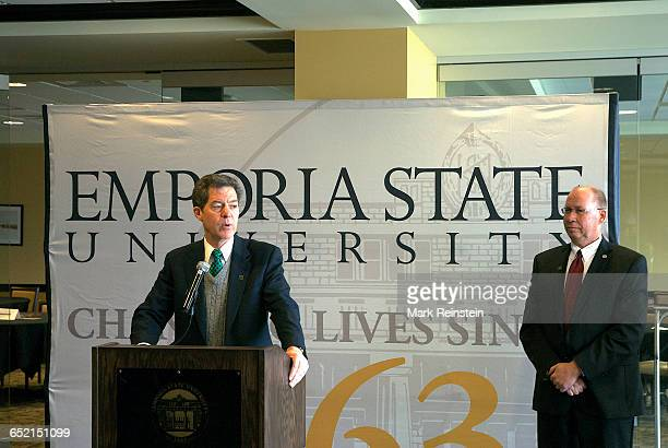 Kansas Governor Sam Brownback annouces increased funding for higher education at Emporia State University Emporia Kansas April 14 2014