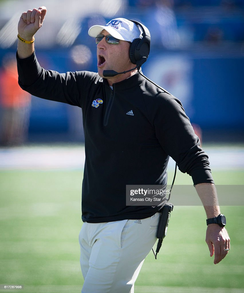 Kansas head coach David Beaty calls out to the offense before they a pass play on fourth down from the 5 yardline in the fourth quarter against Oklahoma State at Memorial Stadium in Lawrence, Kan., on Saturday, Oct. 22, 2016. Oklahoma State won, 44-20.
