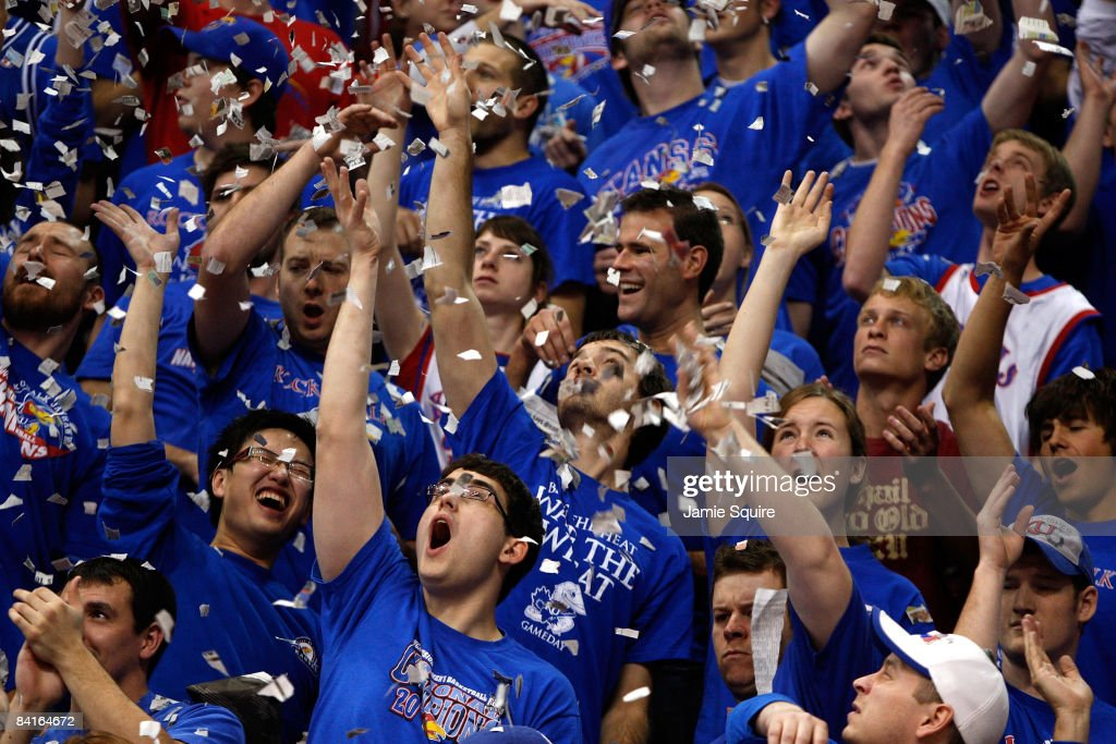 Kansas Jayhawk fans cheer during player introductions prior to the start of the game against the Tennessee Volunteers on January 3 2009 at Allen...