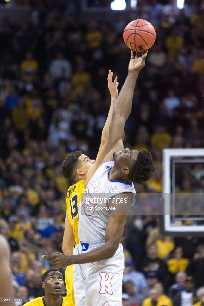 Kansas Jayhawks center Udoka Azubuike (35) goes up for the jump ball during the preseason Showdown for Relief college basketball game between the Missouri Tigers and the Kansas Jayhawks on October 22, 2017 at Sprint Center in Kansas City, Missouri.