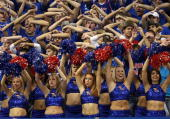 Kansas Jayhawks cheerleaders and fans distract a Louisiana Monro Warhawks freethrow shooter during the second half of the game against the Louisiana...