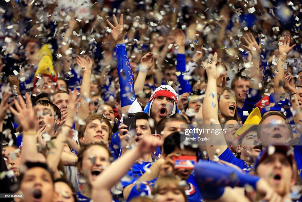 Kansas Jayhawks fans cheer during player introductions prior to the game against the Texas Tech Red Raiders at Allen Fieldhouse on March 4, 2013 in Lawrence, Kansas.