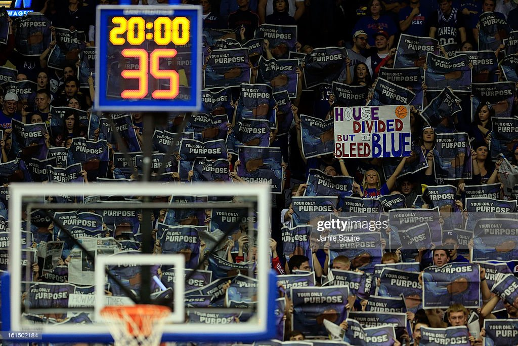 Kansas Jayhawks fans cheer during the game against the Kansas State Wildcats at Allen Fieldhouse on February 11, 2013 in Lawrence, Kansas.