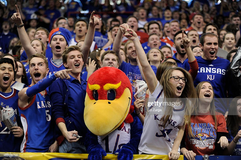 Kansas Jayhawks fans cheer on their team as they are introduced prior to a game against the Baylor Bears at Allen Fieldhouse on February 14 2015 in...