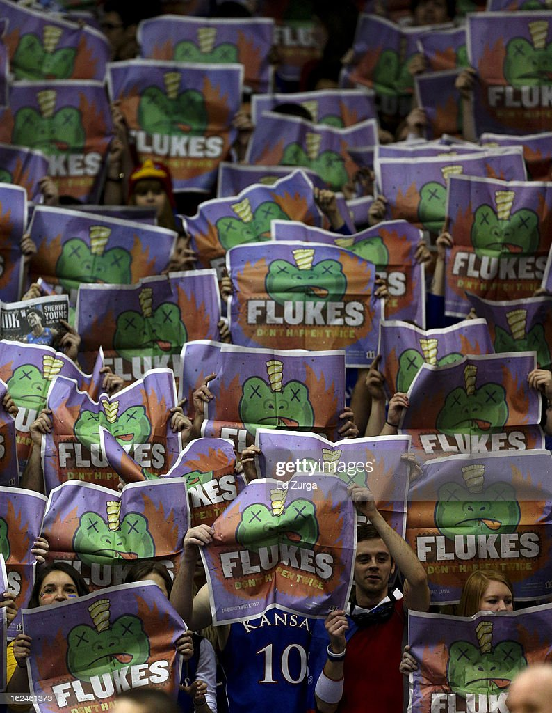 Kansas Jayhawks fans hold up newspapers during the introduction of the TCU Horned Frogs at Allen Field House on February 23, 2013 in Lawrence, Kansas.