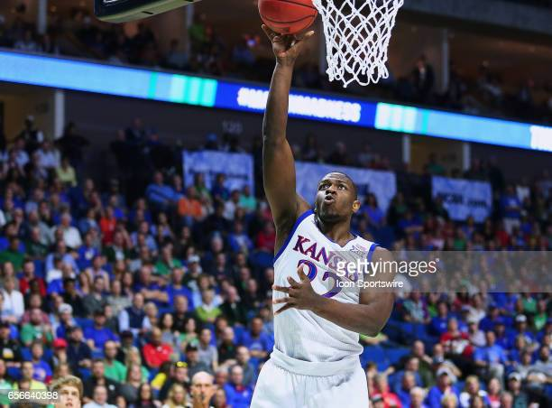 Kansas Jayhawks Forward Dwight Coleby gets behind the UC Davis defense for the score during the Kansas Jayhawks game versus the UC Davis Aggies in...