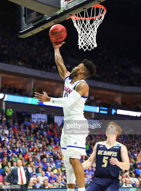 Kansas Jayhawks Guard Frank Mason III goes the length of the floor for the layup score during the Kansas Jayhawks game versus the UC Davis Aggies in...