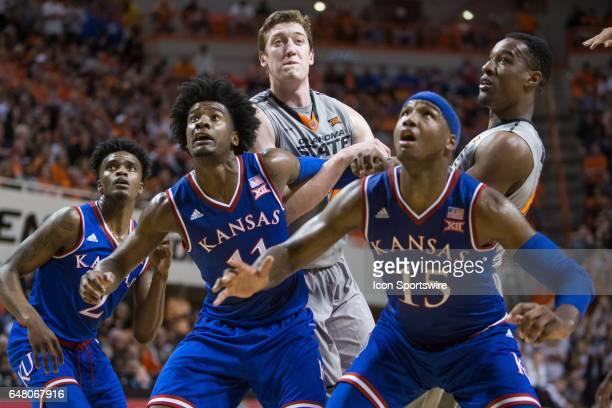 Kansas Jayhawks guard Josh Jackson during the Big 12 conference mens basketball game between the Kansas Jayhawks and the Oklahoma State Cowbosy on...