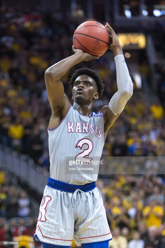 Kansas Jayhawks guard Lagerald Vick (2) during the preseason Showdown for Relief college basketball game between the Missouri Tigers and the Kansas Jayhawks on October 22, 2017 at Sprint Center in Kansas City, Missouri.