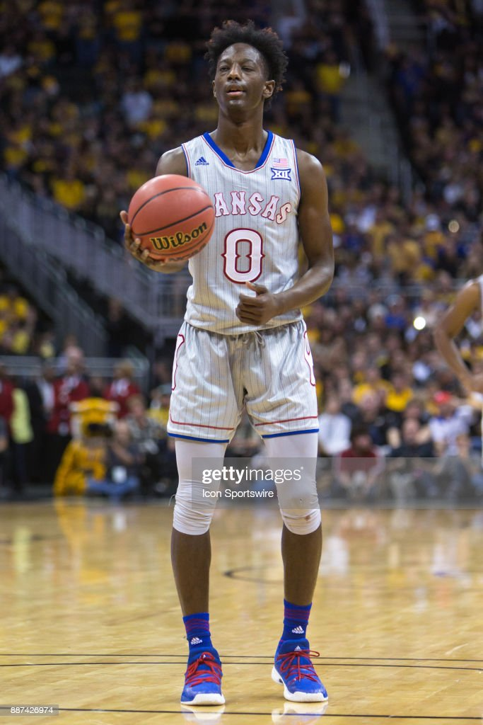 Kansas Jayhawks guard Marcus Garrett (0) during the preseason Showdown for Relief college basketball game between the Missouri Tigers and the Kansas Jayhawks on October 22, 2017 at Sprint Center in Kansas City, Missouri.