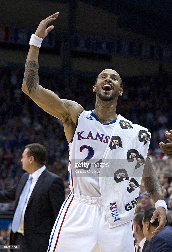 Kansas Jayhawks guard Travis Releford (24) cheers after a Ben McLemore dunk in the second half during Monday's basketball game against the Baylor Bears on January 14, 2013, in Lawrence, Kansas.