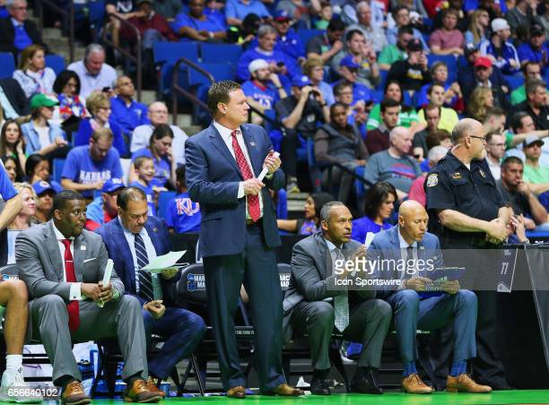Kansas Jayhawks Head Coach Bill Self watches as his Jayhawks execute on offense during the Kansas Jayhawks game versus the UC Davis Aggies in the...
