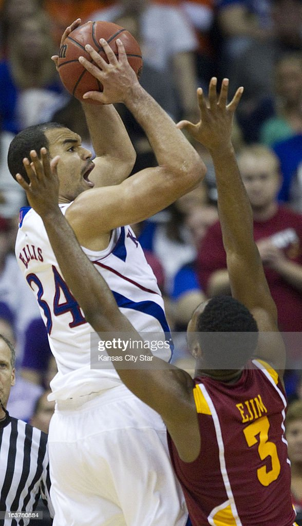 Kansas' Perry Ellis (34) fires a shot over Iowa State's Melvin Ejim (3) in the second half in the semifinals of the Big 12 Tournament at the Sprint Center in Kansas City, Missouri, on Friday, March 15, 2013. Kansas won, 88-73.