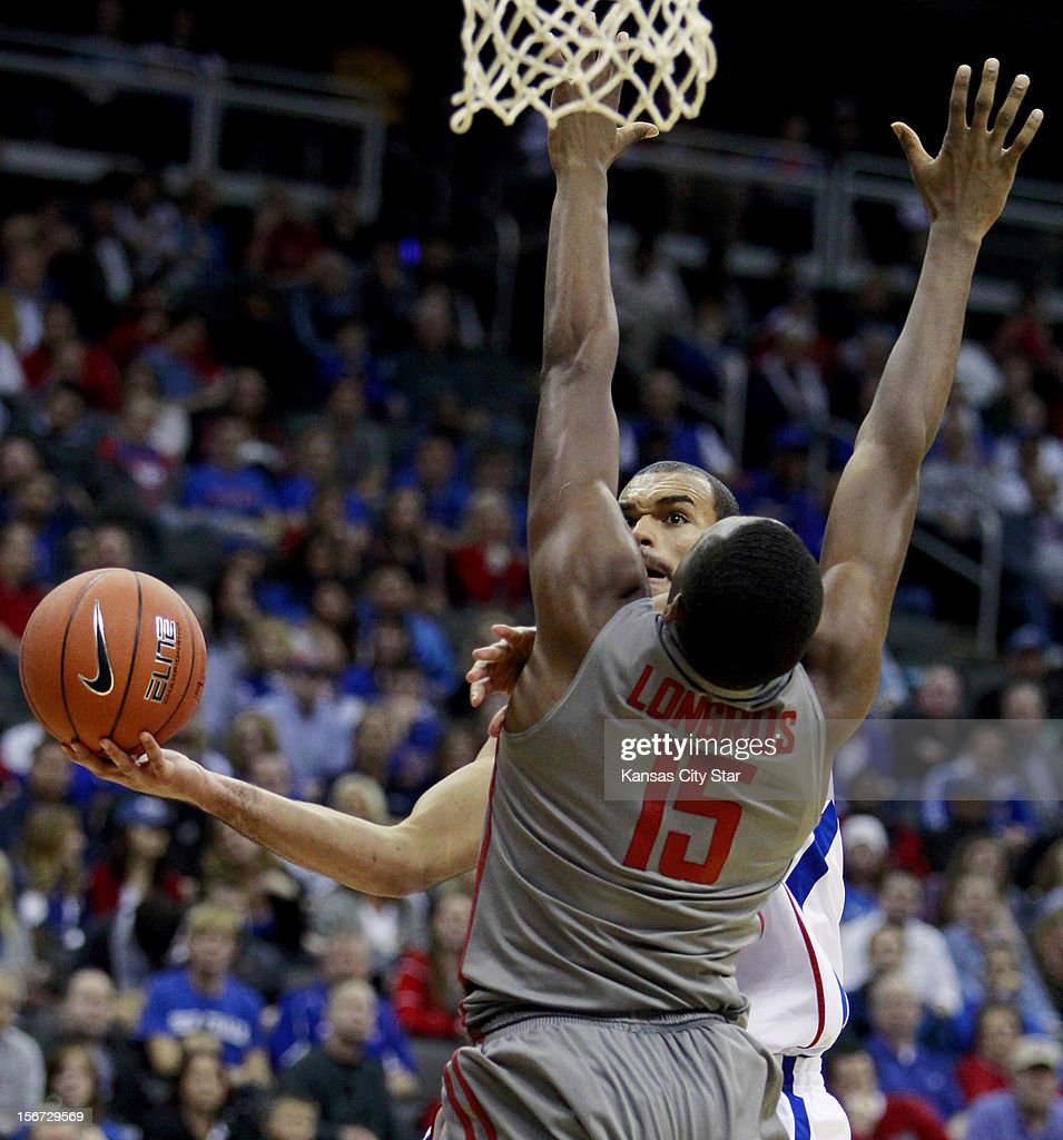 Kansas' Perry Ellis puts up a shot against Washington State's Richard Longrus during the second half of the CBE Hall of Fame Classic at the Sprint Center on Monday, November 19, 2012, in Kansas City, Missouri.