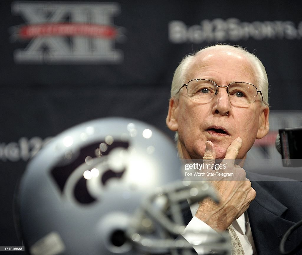 Kansas State coach Bill Snyder talks with reporters during the Big 12 media day at the Omni Hotel in Dallas, Texas, Monday, July 22, 2013.
