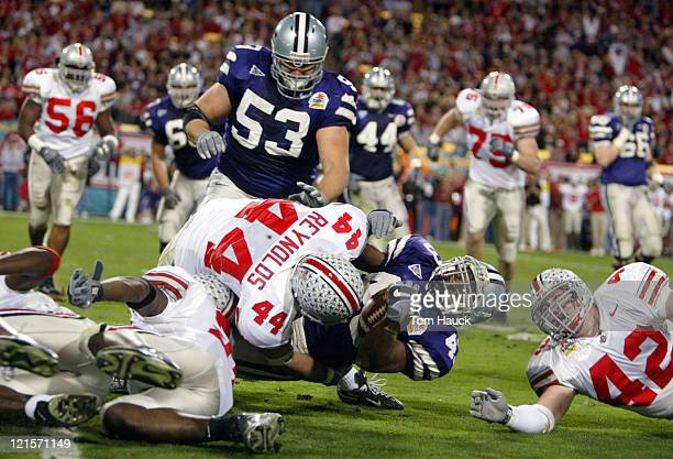 Kansas State Darren Sproles is brought down by Ohio State Robert Reynolds
