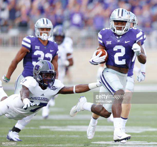 Kansas State defensive back DJ Reed sprints 96 yards with the opening kickoff against Central Arkansas on Saturday Sept 2 at Snyder Family Stadium in...