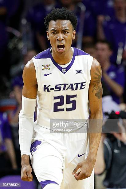 Kansas State forward Wesley Iwundu celebrates after a slam dunk late in the first half on Saturday Feb 6 at Bramlage Coliseum in Manhattan Kan