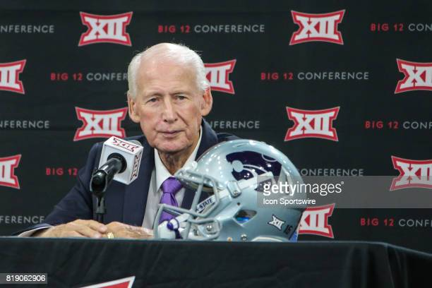 Kansas State head coach Bill Snyder takes questions during the Big 12 Conference Football Media Days on July 18 2017 at Ford Center at The Star in...