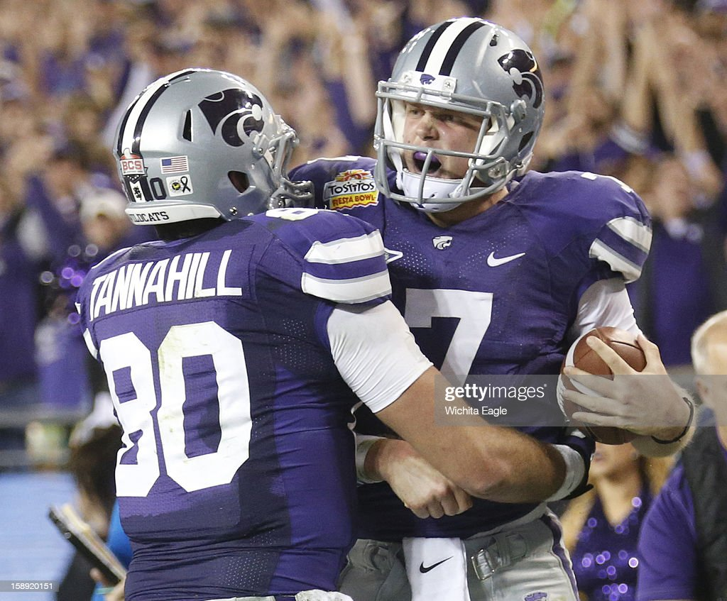 Kansas State quarterback Collin Klein (7) celebrates his 6-yard, second-quarter touchdown run against Oregon in the Tostitos Fiesta Bowl at the University of Phoenix Stadium in Glendale, Arizona, on Thursday, January 3, 2013.