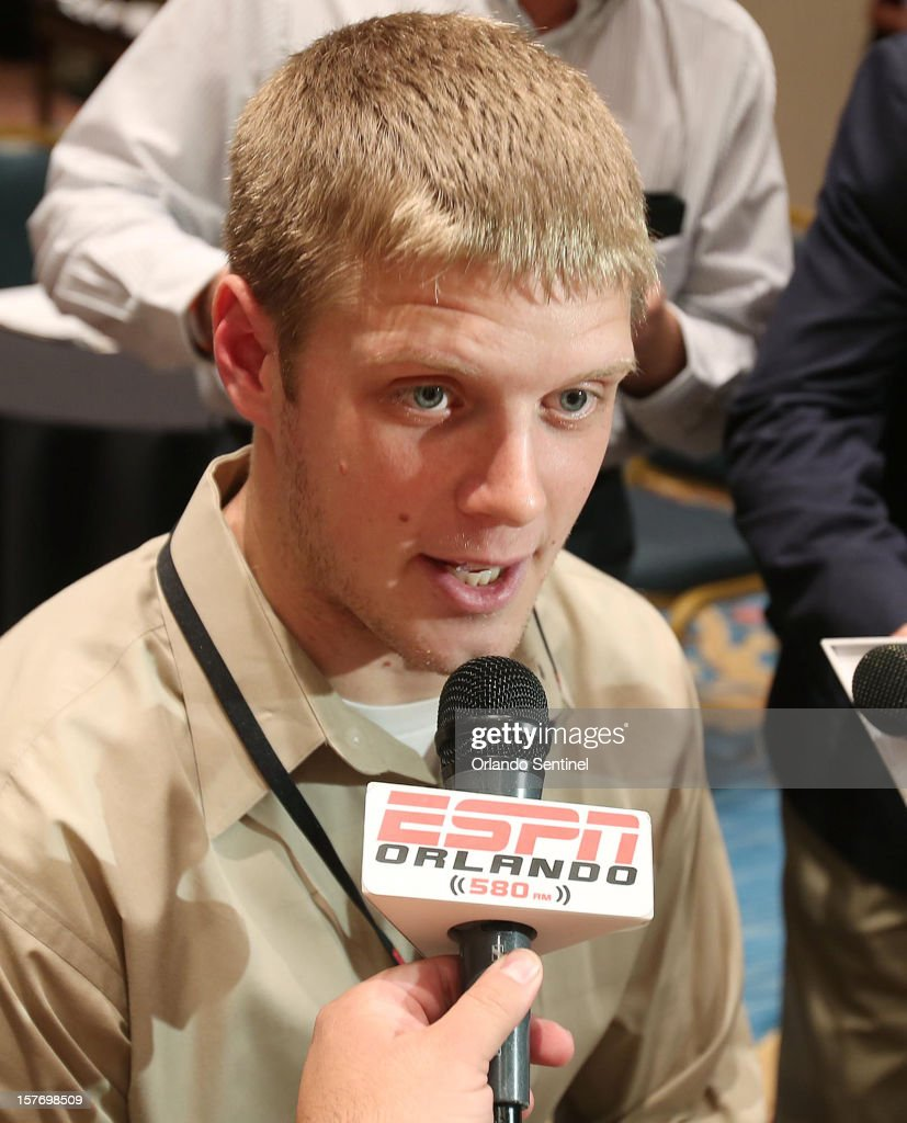 Kansas State quarterback Collin Klein is interviewed during a media availability event for the ESPN College Football Awards at Disney's Boardwalk Inn on Wednesday, December 5, 2012, in Orlando, Florida.