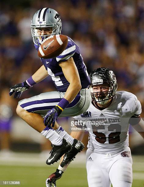 Kansas State wide receiver Curry Sexton watches the ball float by after failing to bring in a Collin Klein pass in the third quarter against Missouri...