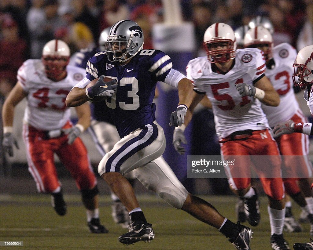 Kansas State wide receiver Daniel Gonzalez (83) races past Nebraska linebacker Bo Ruud (51) at Bill Snyder Family Stadium in Manhattan, Kansas, October 14, 2006. The Huskers beat the Wildcats 21-3.