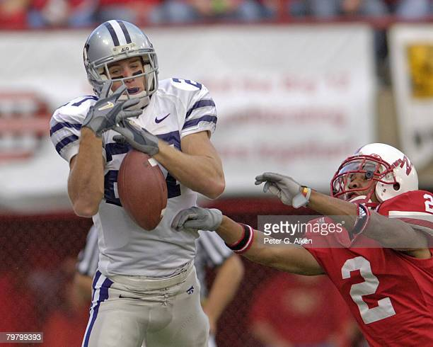 Kansas State wide receiver Jordy Nelson can't hold onto the pass as Nebraska defensive back Cortney Grixby defends on the play Nebraska defeated...