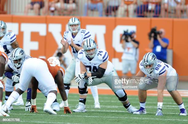 Kansas State Wildcat tackle Scott Frantz and TE Dayton Valentine gets ready for a play during Kansas State Wildcats game against the Texas Longhorns...