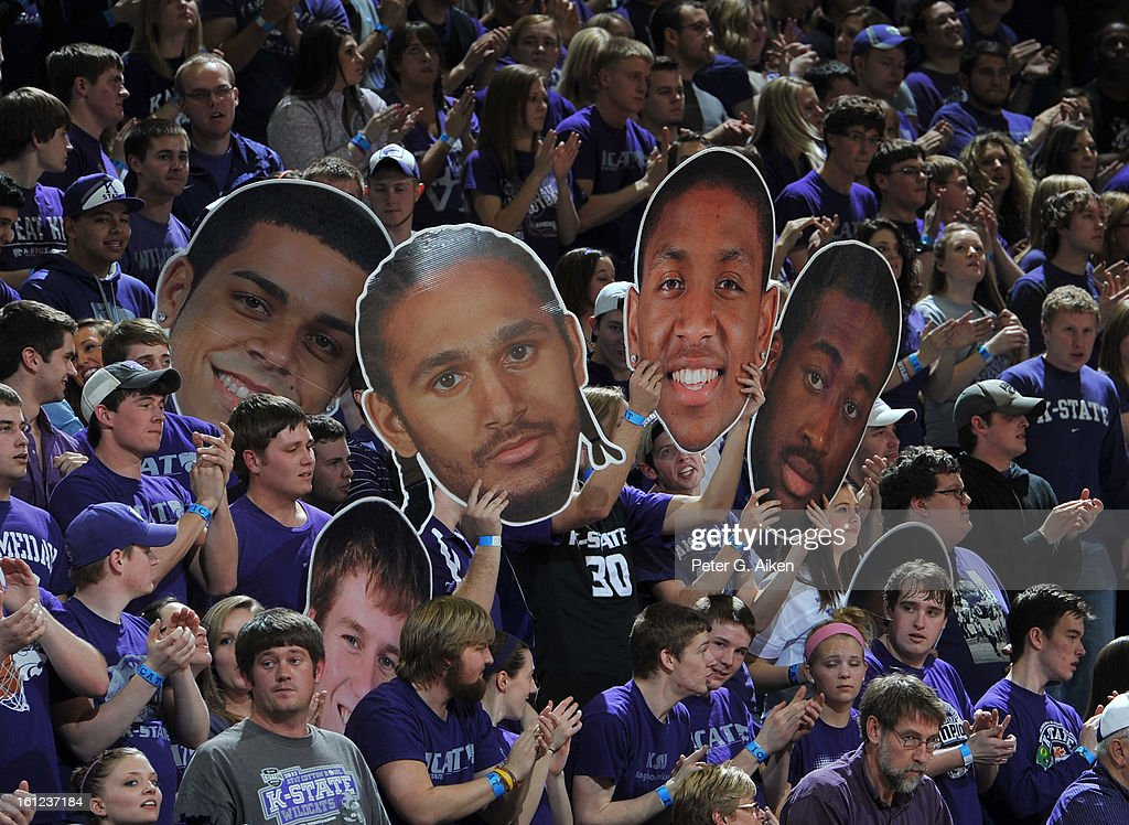 Kansas State Wildcats fans celebrate during a game against the Iowa State Cyclones on February 9, 2013 at Bramlage Coliseum in Manhattan, Kansas. Kansas State defeated Iowa State 79-70.