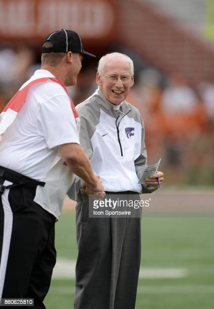 Kansas State Wildcats head coach Bill Snyder shares a laugh with an official during warms up prior to Kansas State Wildcats game versus the Texas...