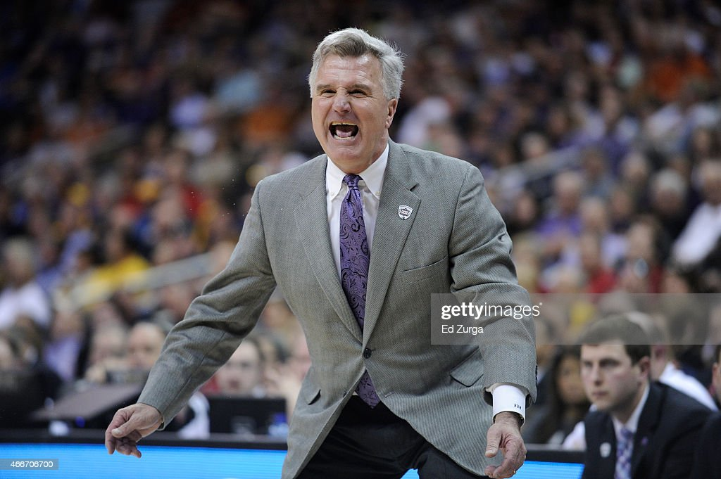 Kansas State Wildcats head coach <a gi-track='captionPersonalityLinkClicked' href=/galleries/search?phrase=Bruce+Weber+-+Entra%C3%AEneur+de+basketball&family=editorial&specificpeople=15087708 ng-click='$event.stopPropagation()'>Bruce Weber</a> reacts against TCU Horned Frogs during the first round of the Big 12 basketball tournament at Sprint Center on March 11, 2015 in Kansas City, Missouri.