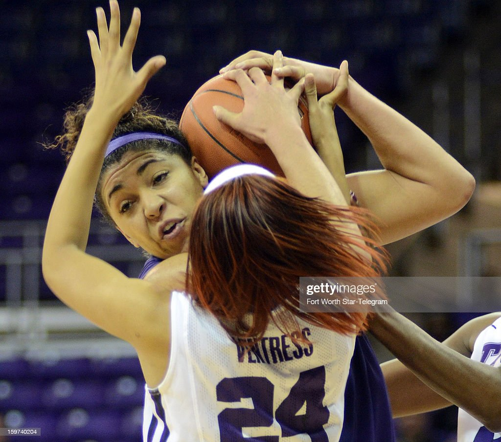 Kansas State's Chantay Caron fights for a rebound with Texas Christian's Natalie Ventress (24) during the first half on Saturday, January 19, 2013, at Daniel-Meyer Coliseum in Fort Worth, Texas. Kansas State won, 57-54.