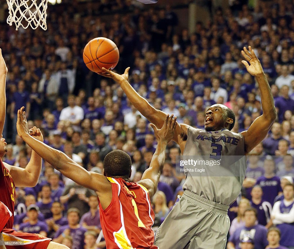 Kansas State's Martavious Irving (3) rolls the ball off his fingers on a shot against Iowa State at Bramlage Coliseum in Manhattan, Kansas, on Saturday, February 9, 2013. K-State defeated Iowa State, 79-70.