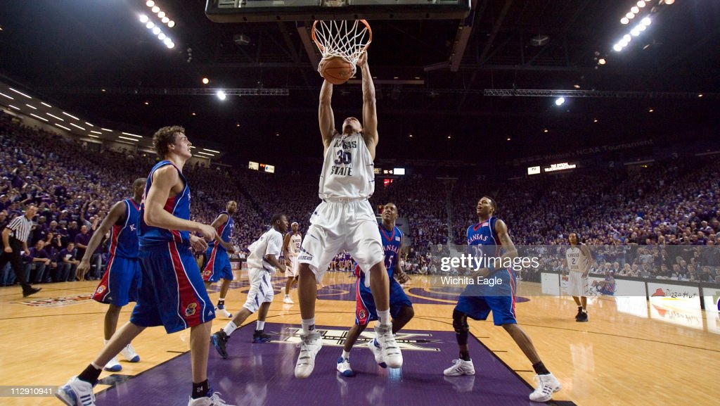 Kansas State's Michael Beasley dunks in the second half against Kansas in Manhattan Kansas on Wednesday January 30 2008 The Wildcats defeated the...