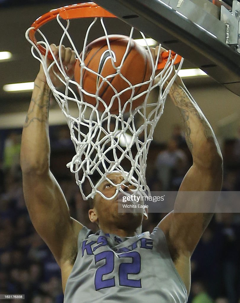 Kansas State's Rodney McGruder throws down a dunk during the first half against Texas Christian at Bramlage Coliseum in Manhattan, Kansas, on Tuesday, March 5, 2013.