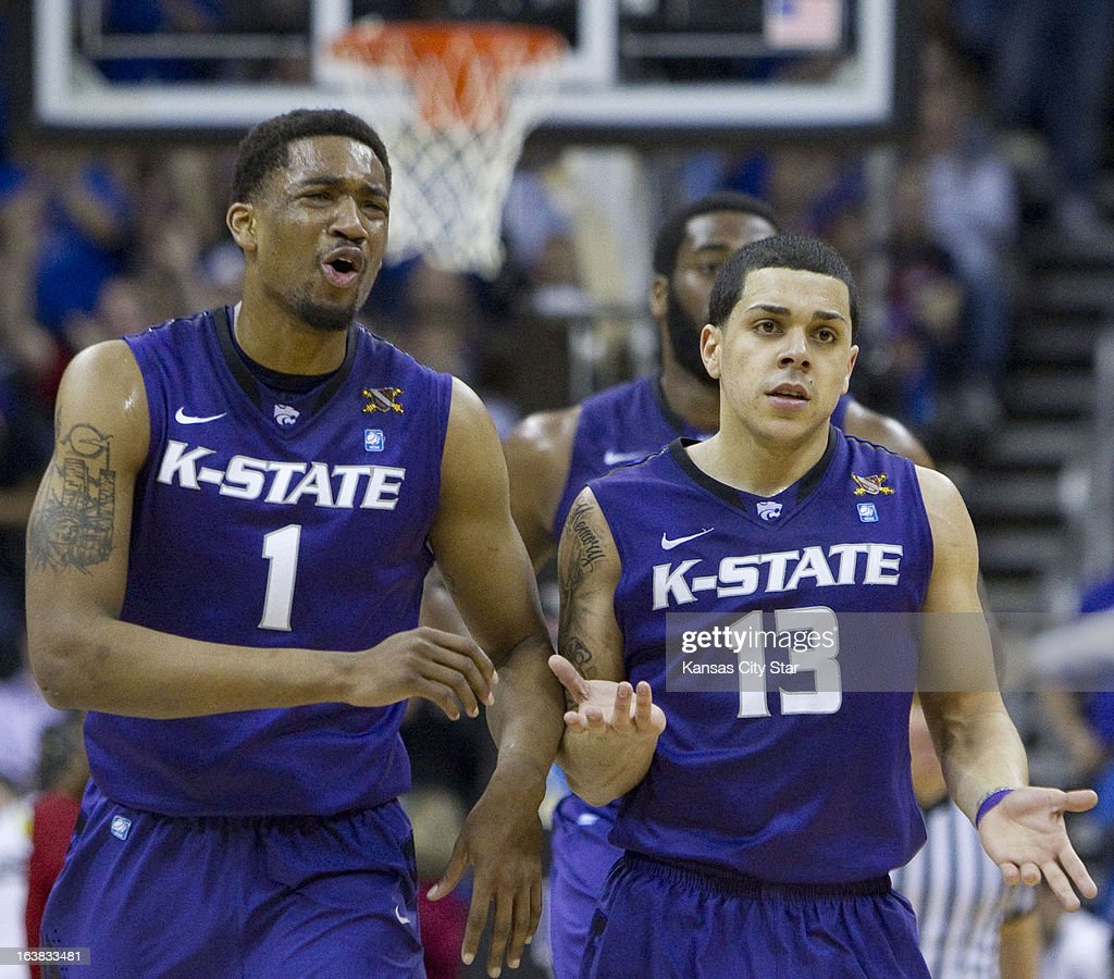 Kansas State's Shane Southwell (1) appears upset about a foul as he and teammate Angel Rodriguez (13) look to the bench for answers in the second half of a 70-54 loss to Kansas in the Big 12 Tournament championship at the Sprint Center in Kansas City, Missouri, on Saturday, March 16, 2013.
