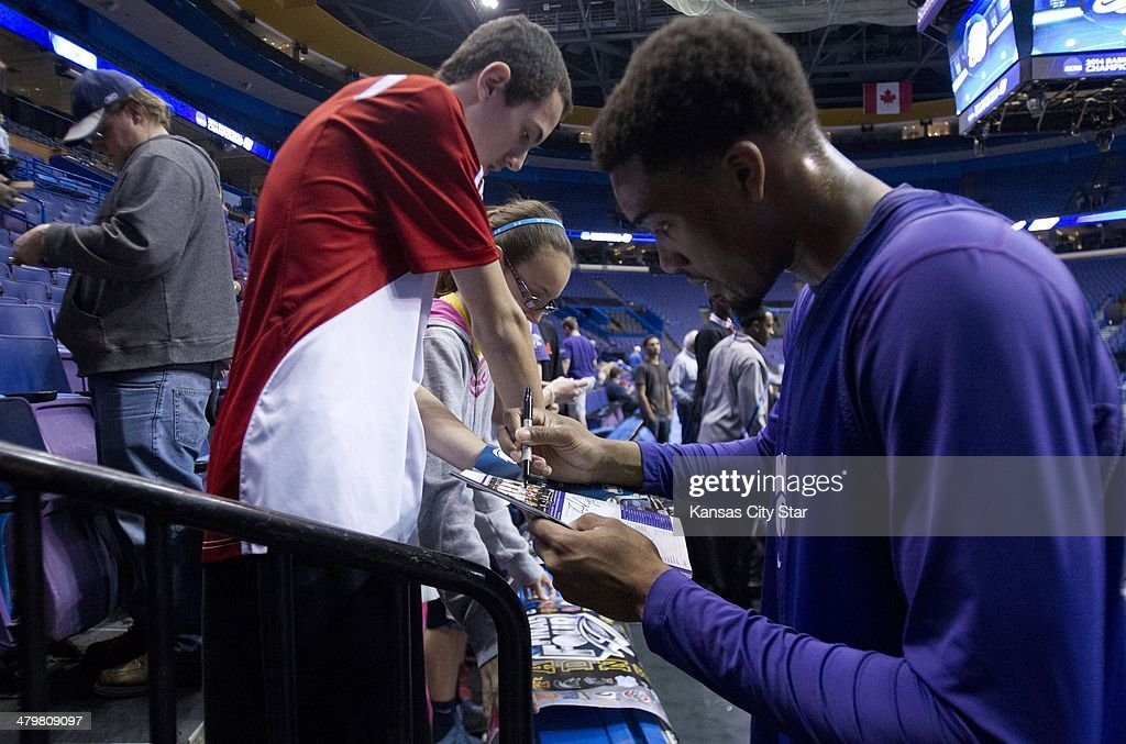 Kansas State's Shane Southwell sign his autograph following practice at the Scottrade Center in St. Louis on Thursday, March 20, 2014. Kansas State faces Kentucky in the second round of the NCAA Tournament on Friday.