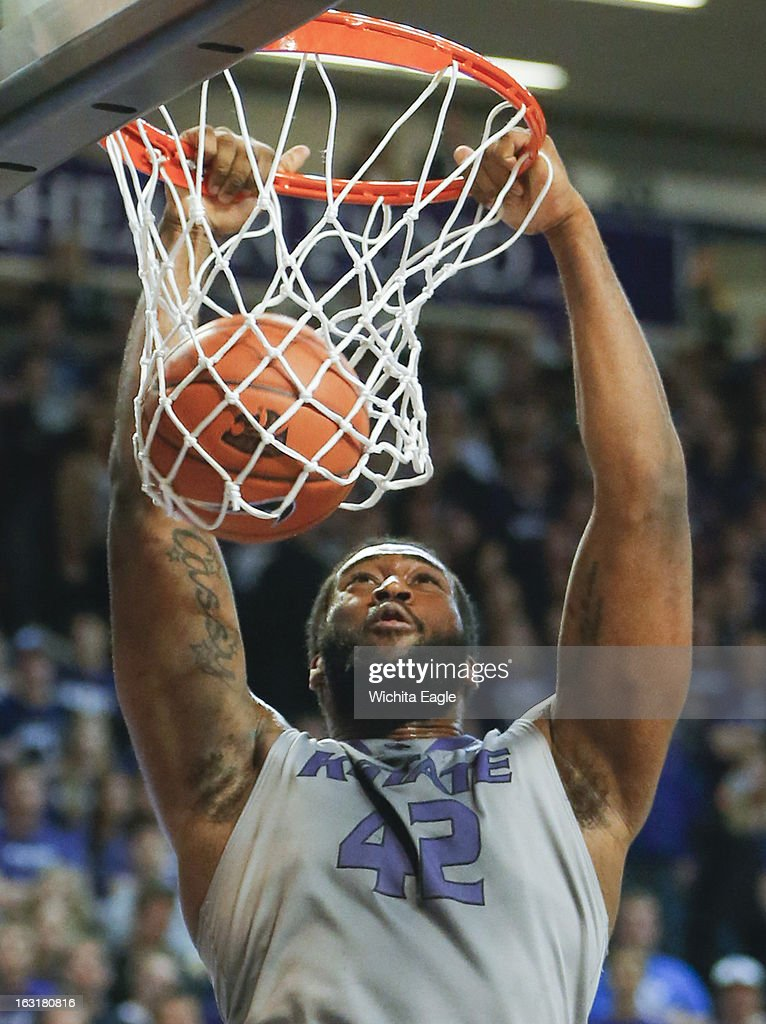 Kansas State's Thomas Gipson dunks against Texas Christian during the second half at Bramlage Coliseum in Manhattan, Kansas, on Tuesday, March 5, 2013. K-State topped TCU, 79-68.