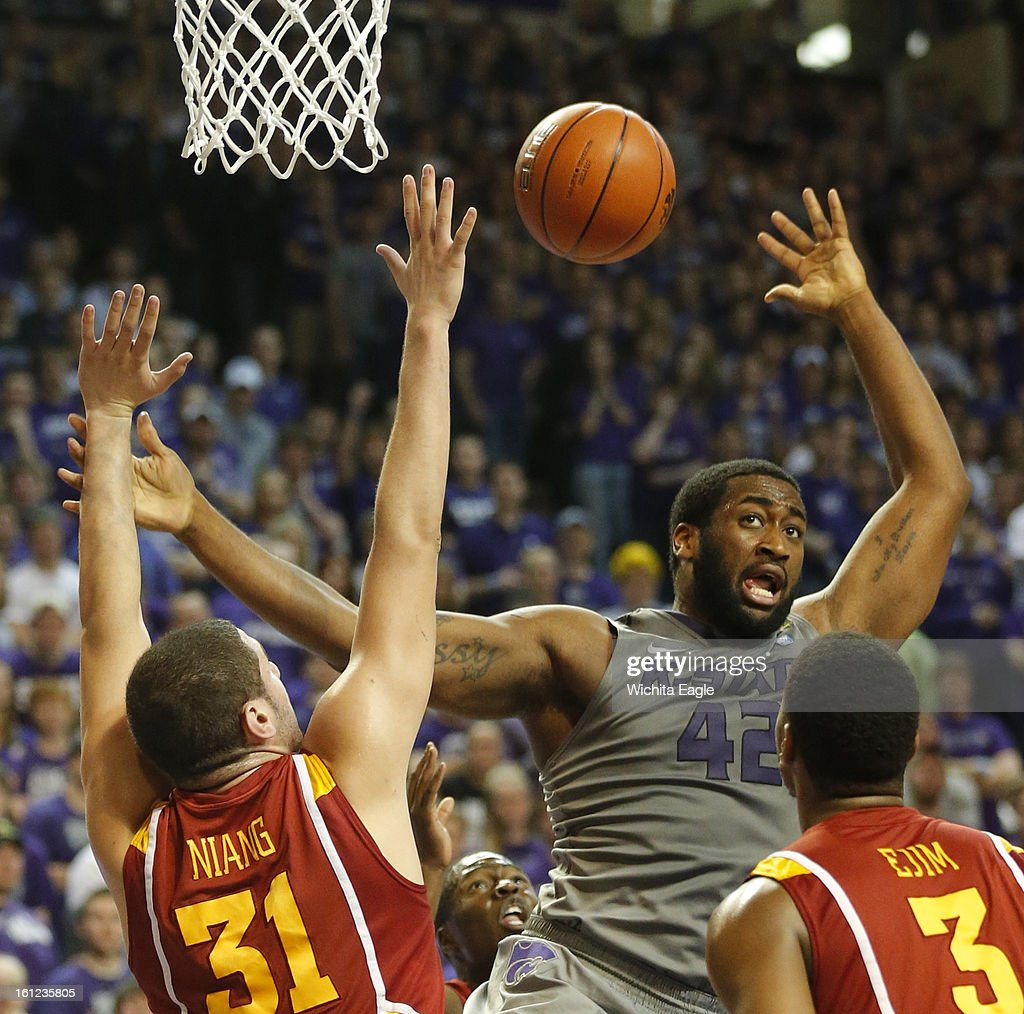 Kansas State's Thomas Gipson (42) looses a rebound under the K-State goal during the second half against Iowa State at Bramlage Coliseum in Manhattan, Kansas, on Saturday, February 9, 2013. K-State defeated Iowa State, 79-70.